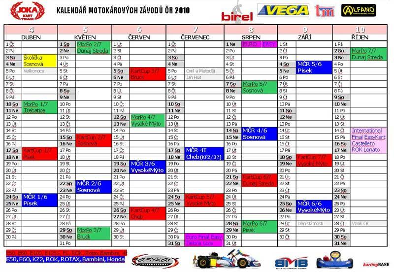 Kalendář závodů 2010